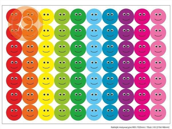 Naklejki motywacyjne 70szt A5 (naklejki fi20mm) - kolorowe